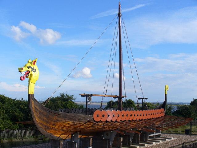 Replica longboat at Ebbsfleet, Pegwell Bay - geograph.org.uk - 503150