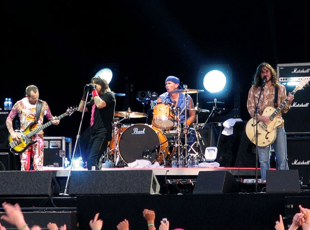 The band in 2006. From left to right: Flea, Anthony Kiedis, Chad Smith, John Frusciante