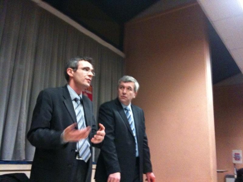 Jean-Luc Laurent en débat avec Stéphane Troussel à La Courneuve pour les élections régionales le 11 février 2010