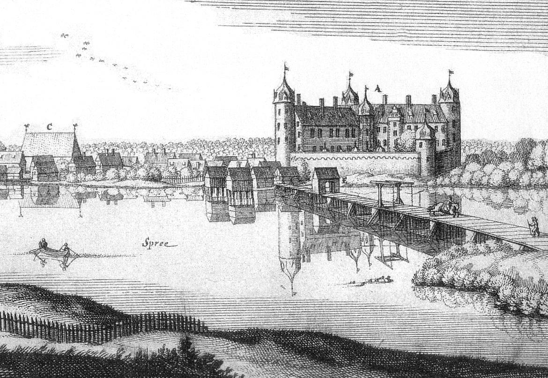 Das Schloss Köpenick um 1652 - Kupferstich von Matthäus Merian