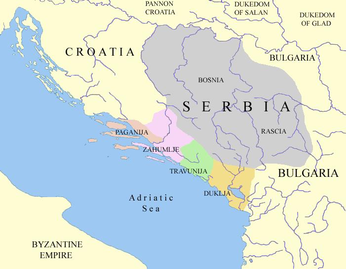 Szerb népcsoportok a 10. században Bíborbanszületett Konstantin alapján
