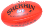 An Australian football. The Sherrin brand is used for all official AFL matches. A red ball like this is used for day matches and a yellow ball is used for night matches.