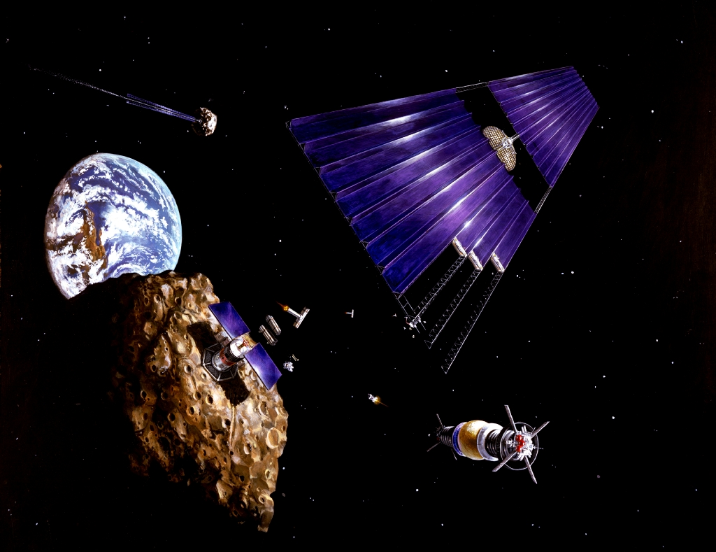 Description solar power satellite from an asteroid