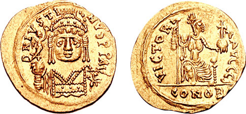 The Byzantine Emperors  Solidus-Justin_II-sb0391