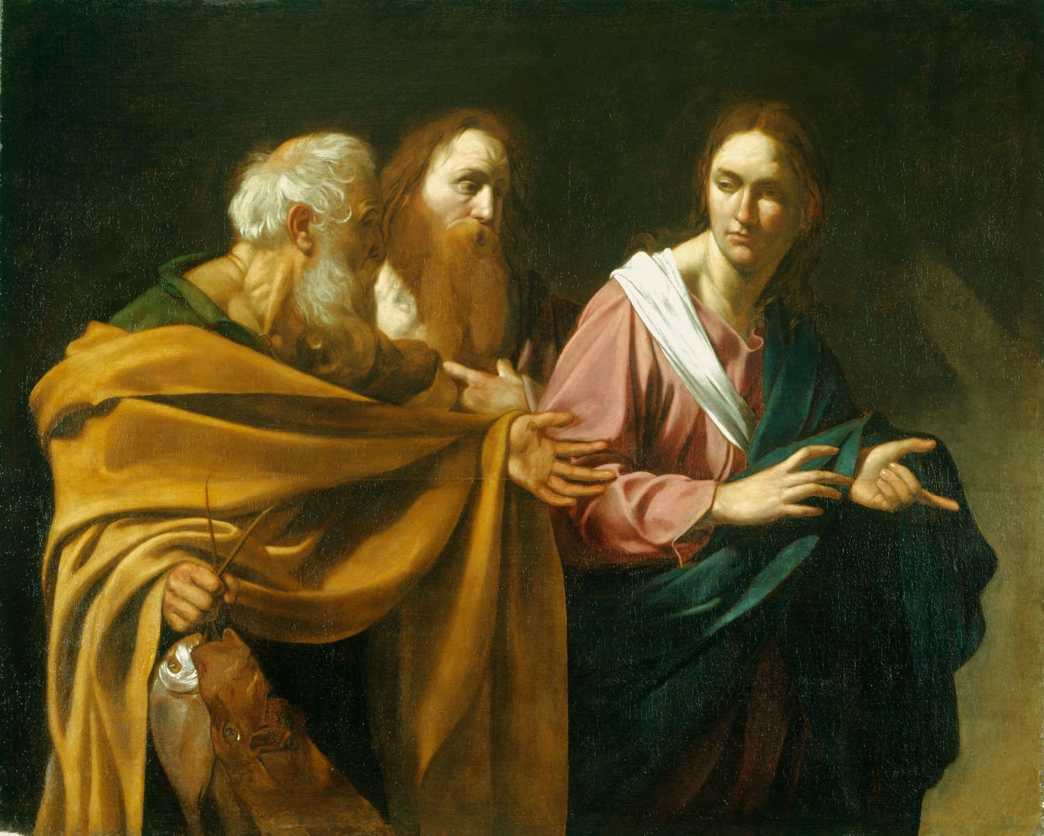 The painting by Caravaggio entitled Calling of the Apostles Peter and Andrew with Andrew on the left. Image taken from wikimedia.