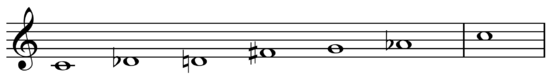 Two-semitone tritone scale on C