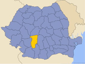 Administrative map of Руминия with Валчеа county highlighted