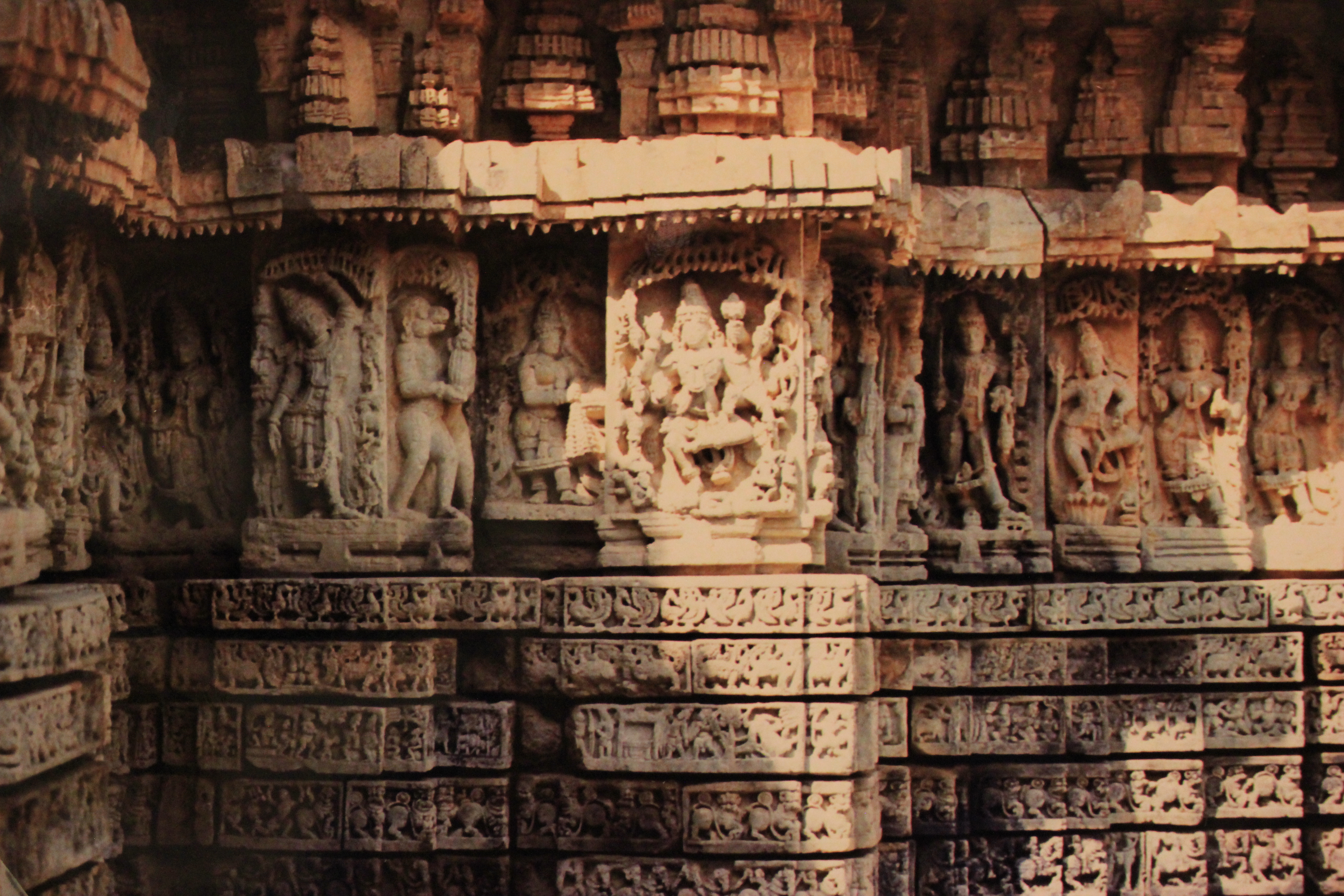 Temple Wall Panels : File wall panel relief and molding frieze at mallikarjuna