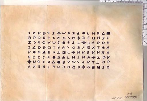 Zodiac Killer cipher, San Francisco Examiner, July 31st 1969. Public domain.