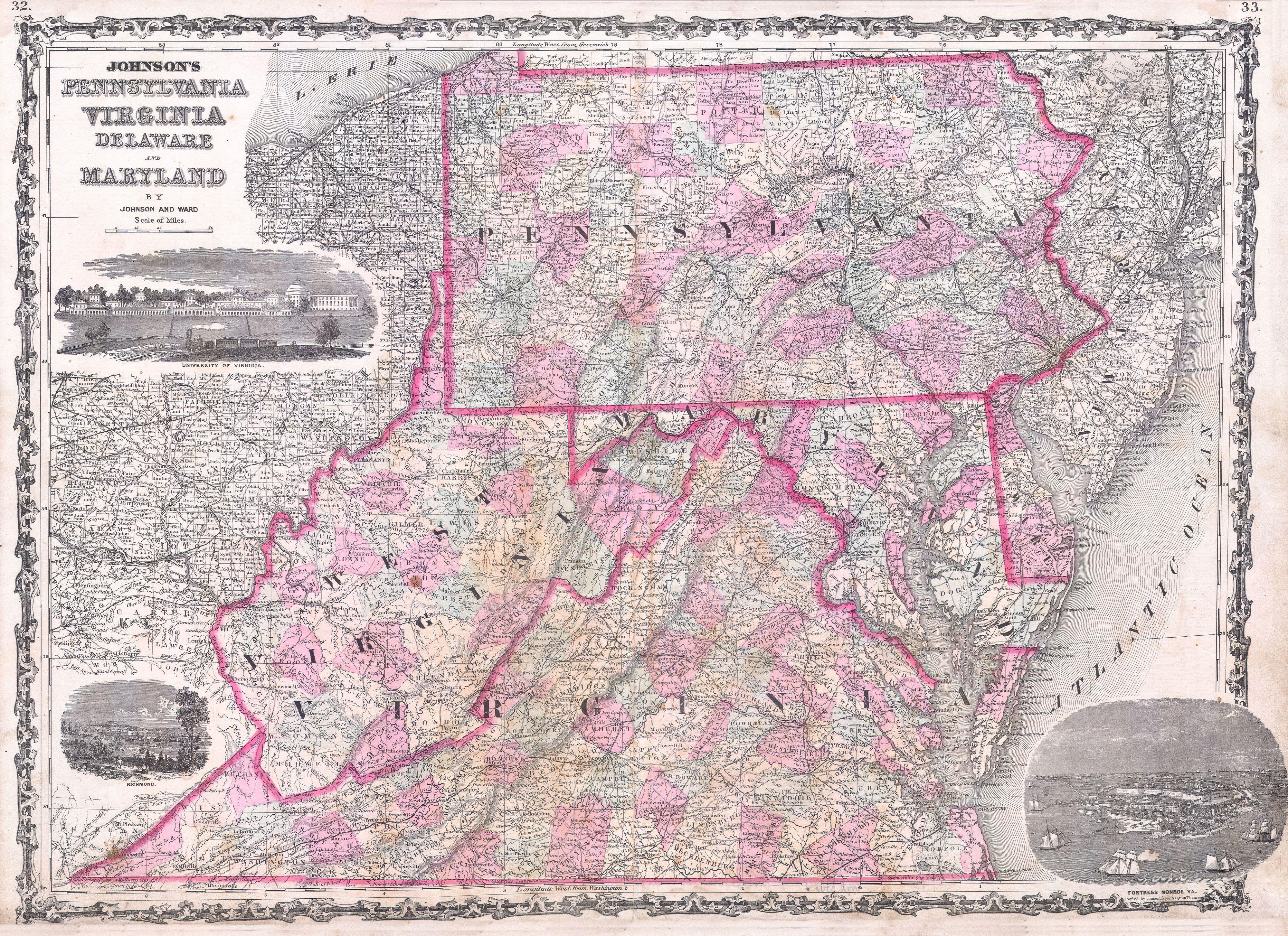 File 1863 Johnson Map Of Virginia Maryland Delaware Pennsylvania Geographicus
