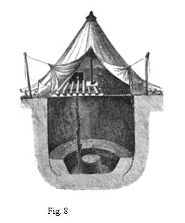 19th century knowledge hiking and camping tent pitched over an excavation or hole.jpg