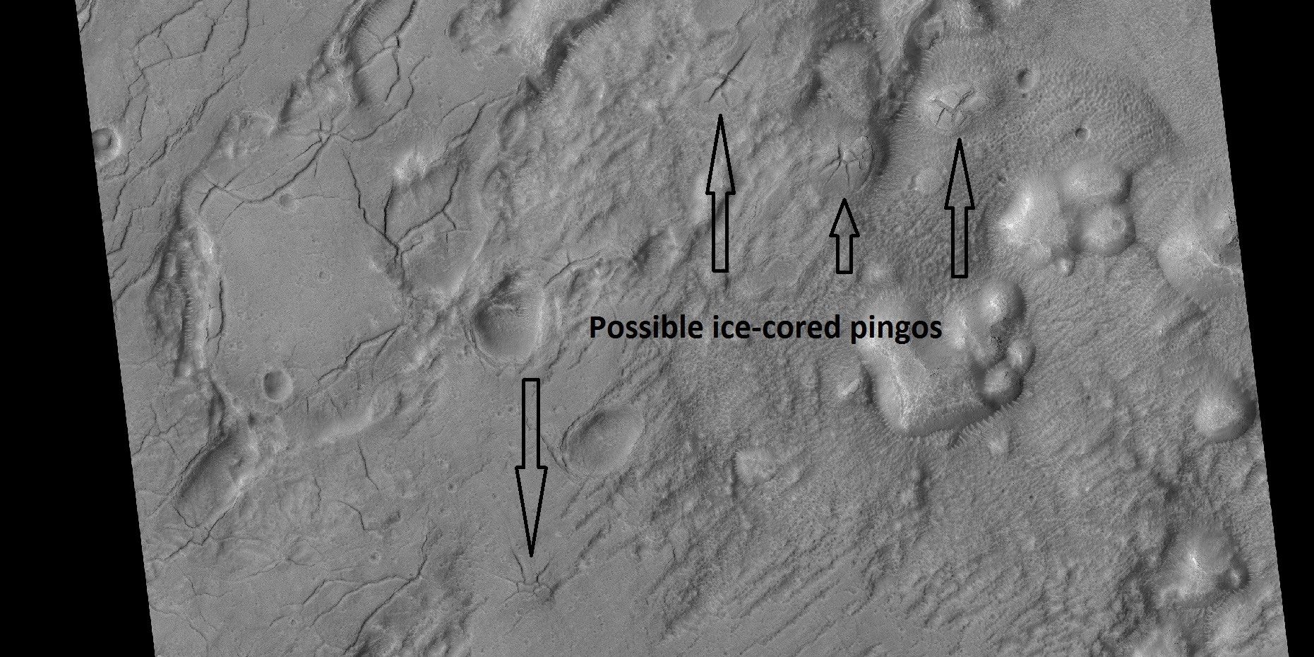 Arrows point to possible pingos, as seen by HiRISE under HiWish program Pingos contain a core of pure ice.