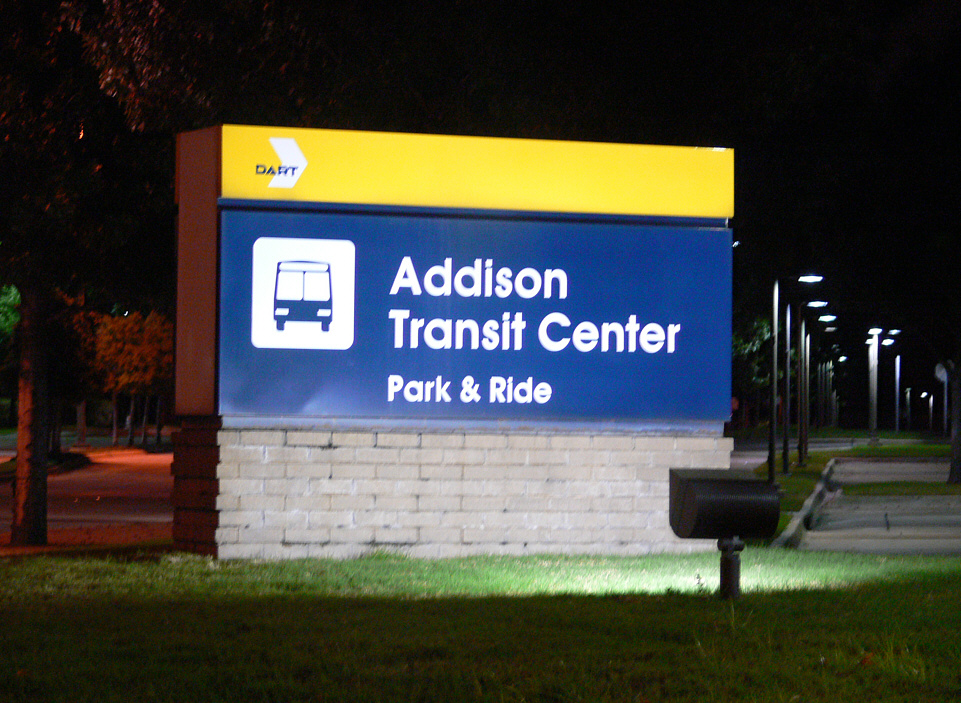 Addison Transit Center parking at night.jpg