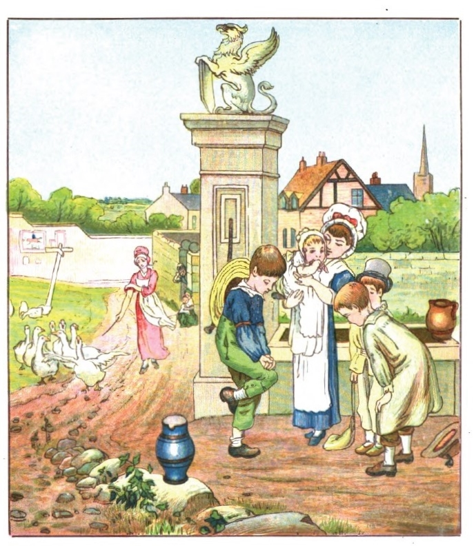 A colorful 1880 cartoon of children playing outside the village