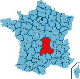 Овернь на карте Франции