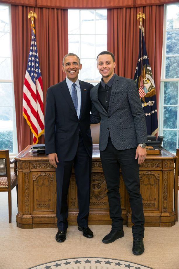 906a9f3f3 President Barack Obama with Curry during a visit to the White House in 2015  to launch the president s initiative on malaria