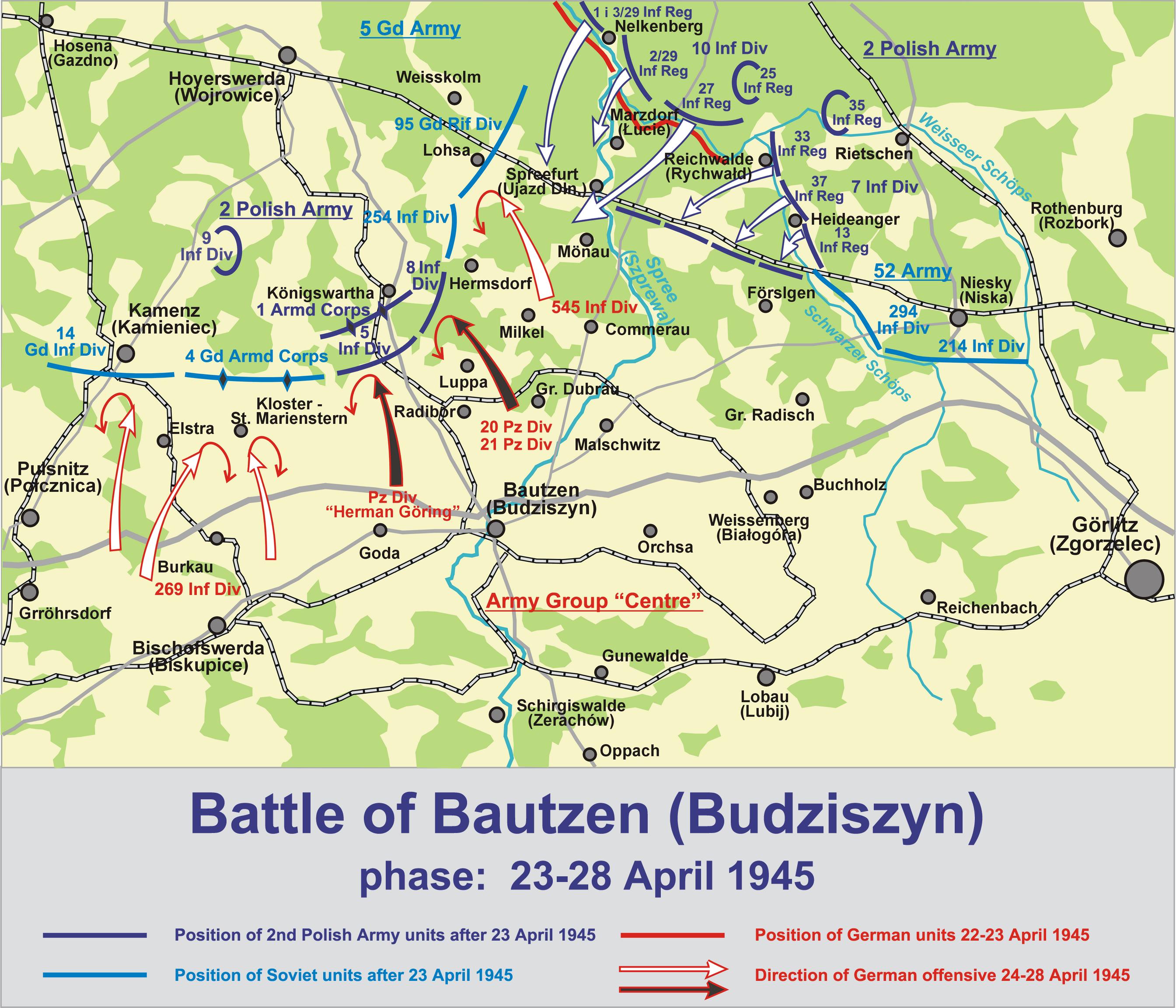 Battle Bautzen 1945 Map of The Battle of Bautzen