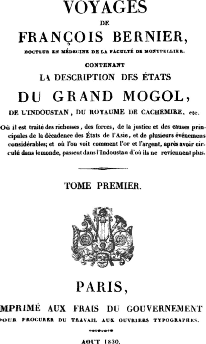 Édition de 1830 des ''Voyages dans les États du Grand Mogol''.
