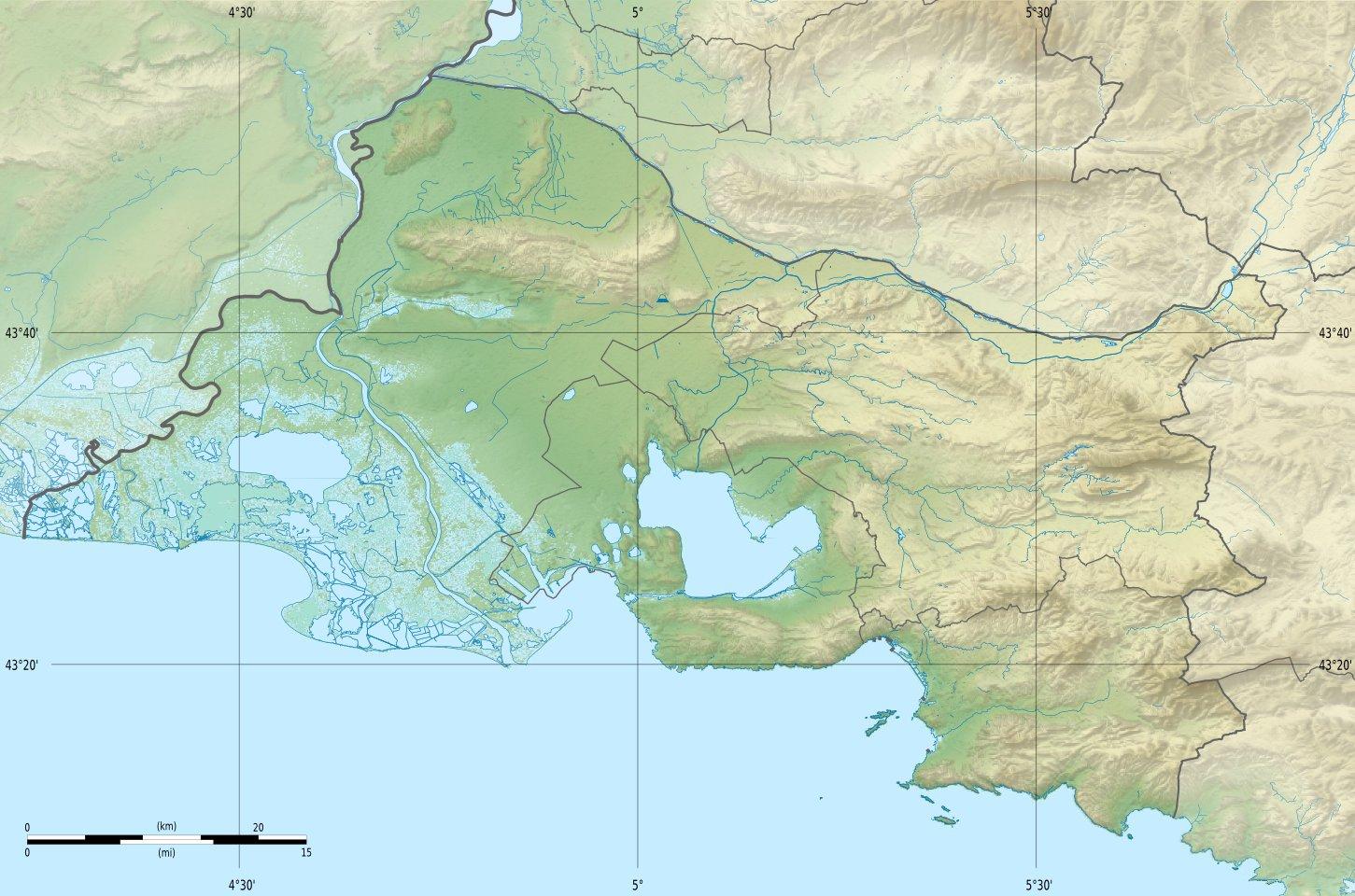 Fichier bouches du rh ne department relief location map for Bouche rhone