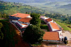 An aerial image of PIH's new Butaro Hospital, the largest public facility in Rwanda.