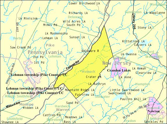 Census Bureau map of Walpack Township, New Jersey