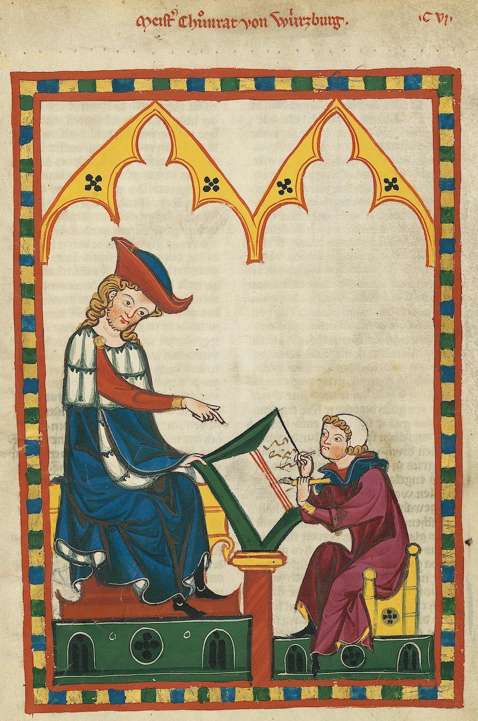 Codex Manesse, Konrad von Würzburg lässt schreiben - Quelle: WikiCommons, Details siehe Artikel