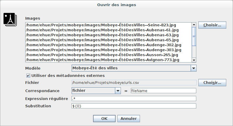 Exemple de correspondance exacte entre le nom du fichier et une colonne nommée «fichier».