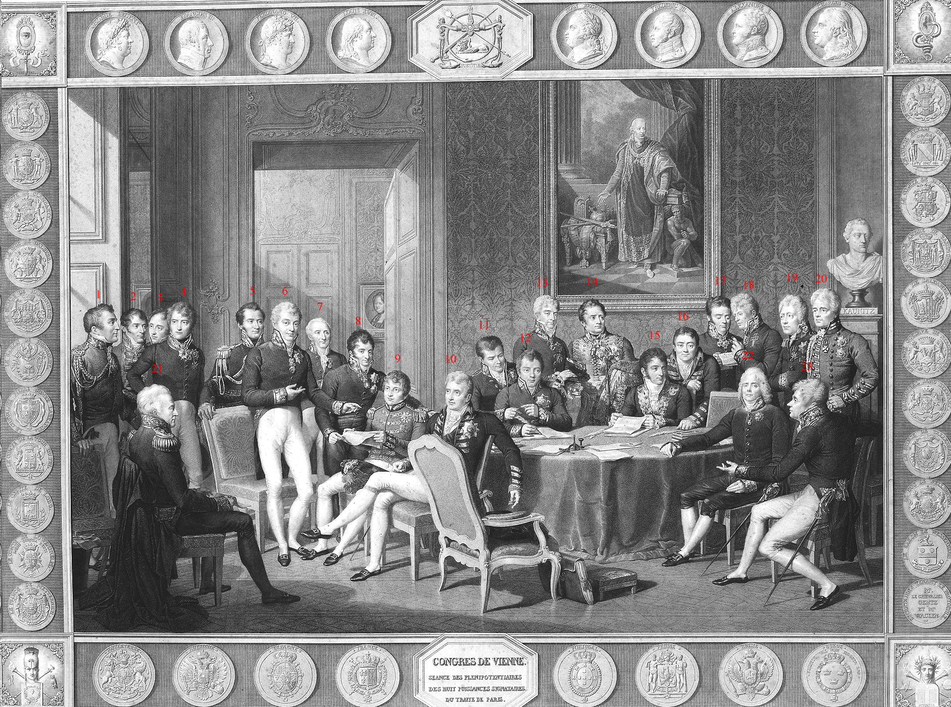 Delegates Congress of Vienna in a contemporary engraving by Jean Godefroy after the painting by Jean-Baptiste Isabey.