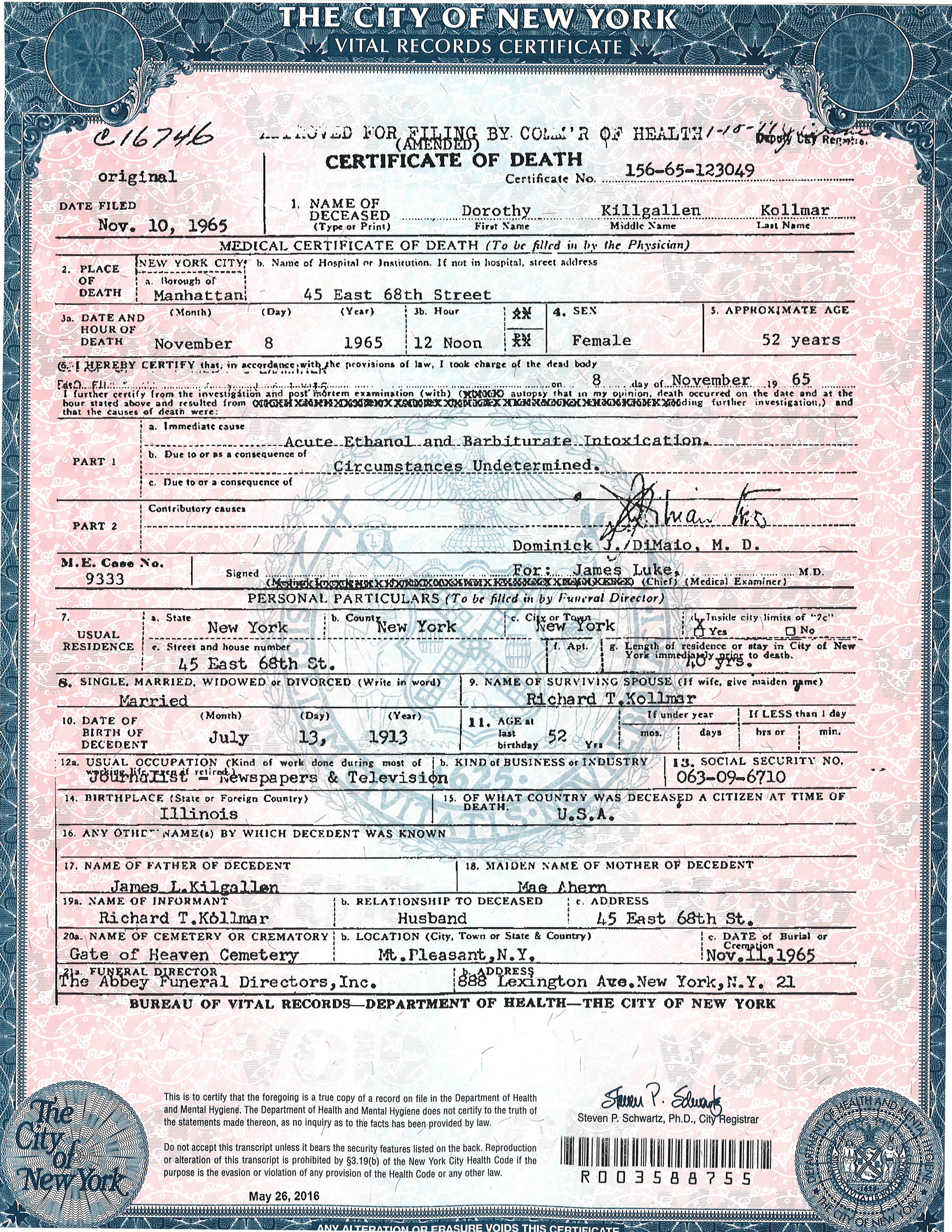 Filedeath Certificate Copy Certified On May 26 2016g