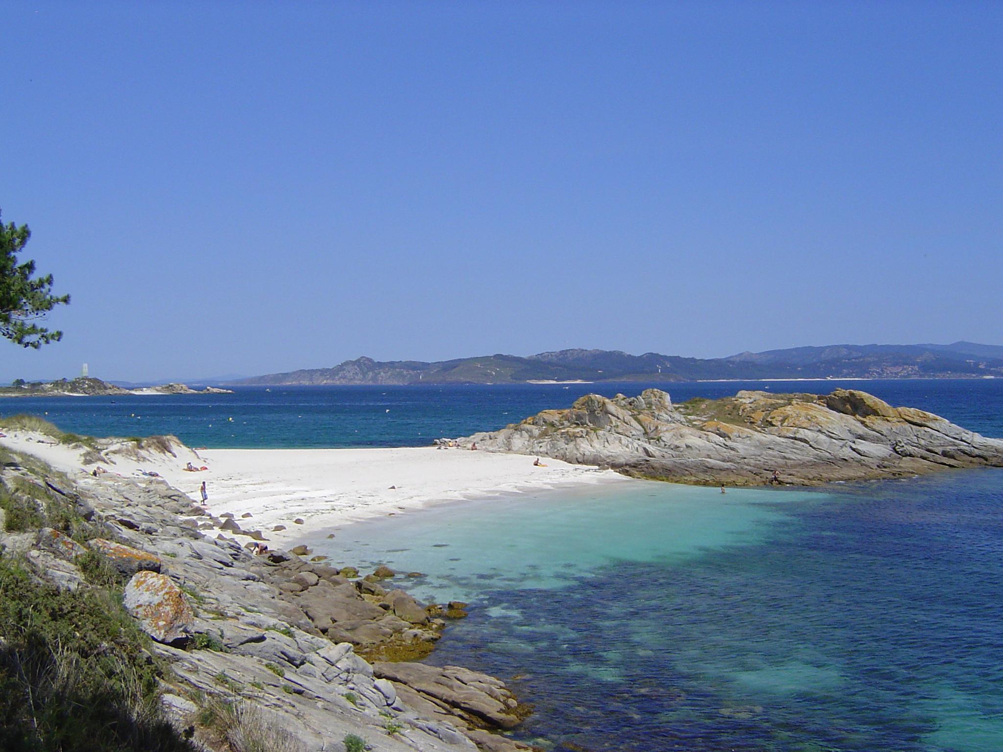 Imaxe dunha das praias das Illas Cíes