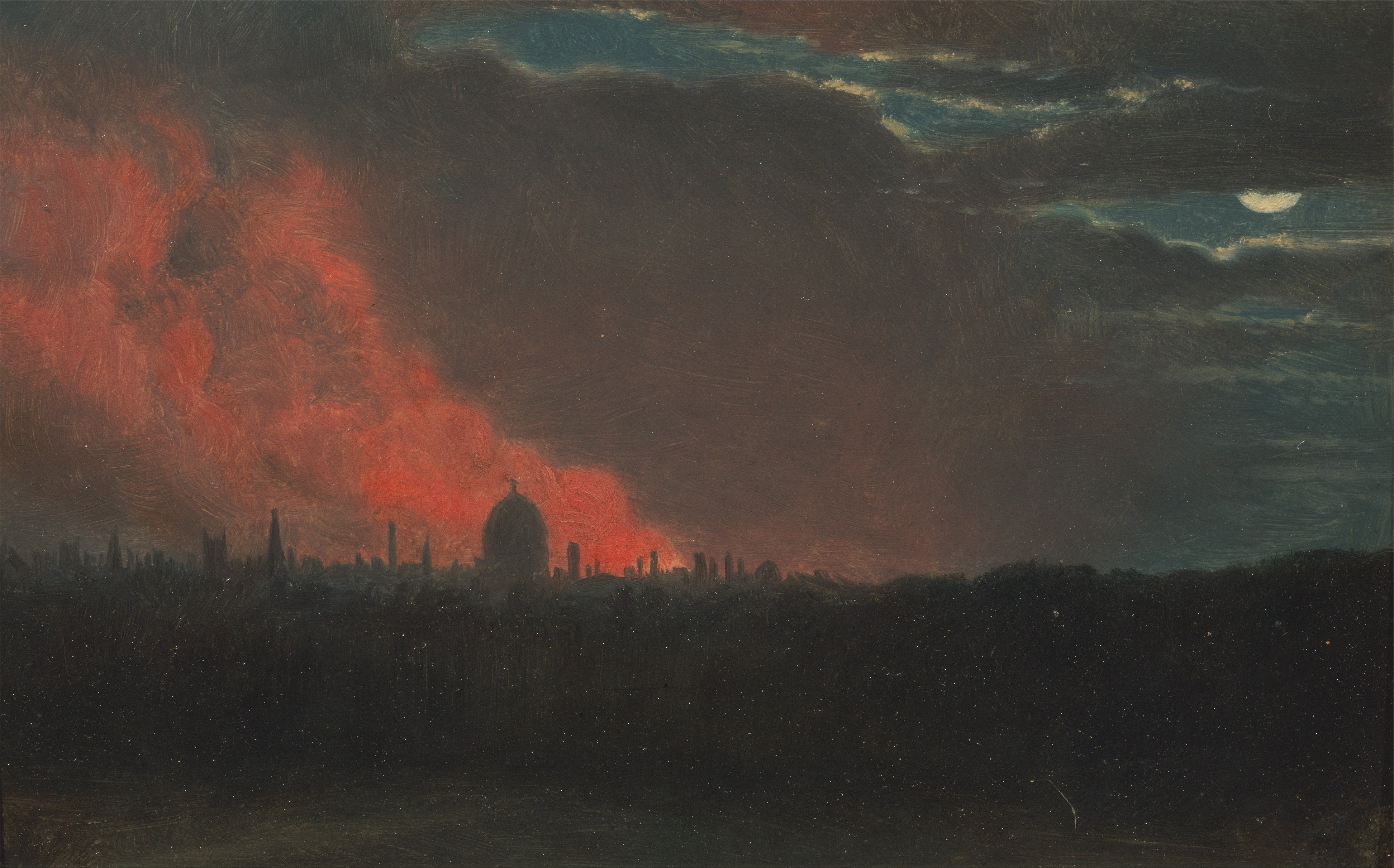 File John Constable Fire In London Seen From Hampstead