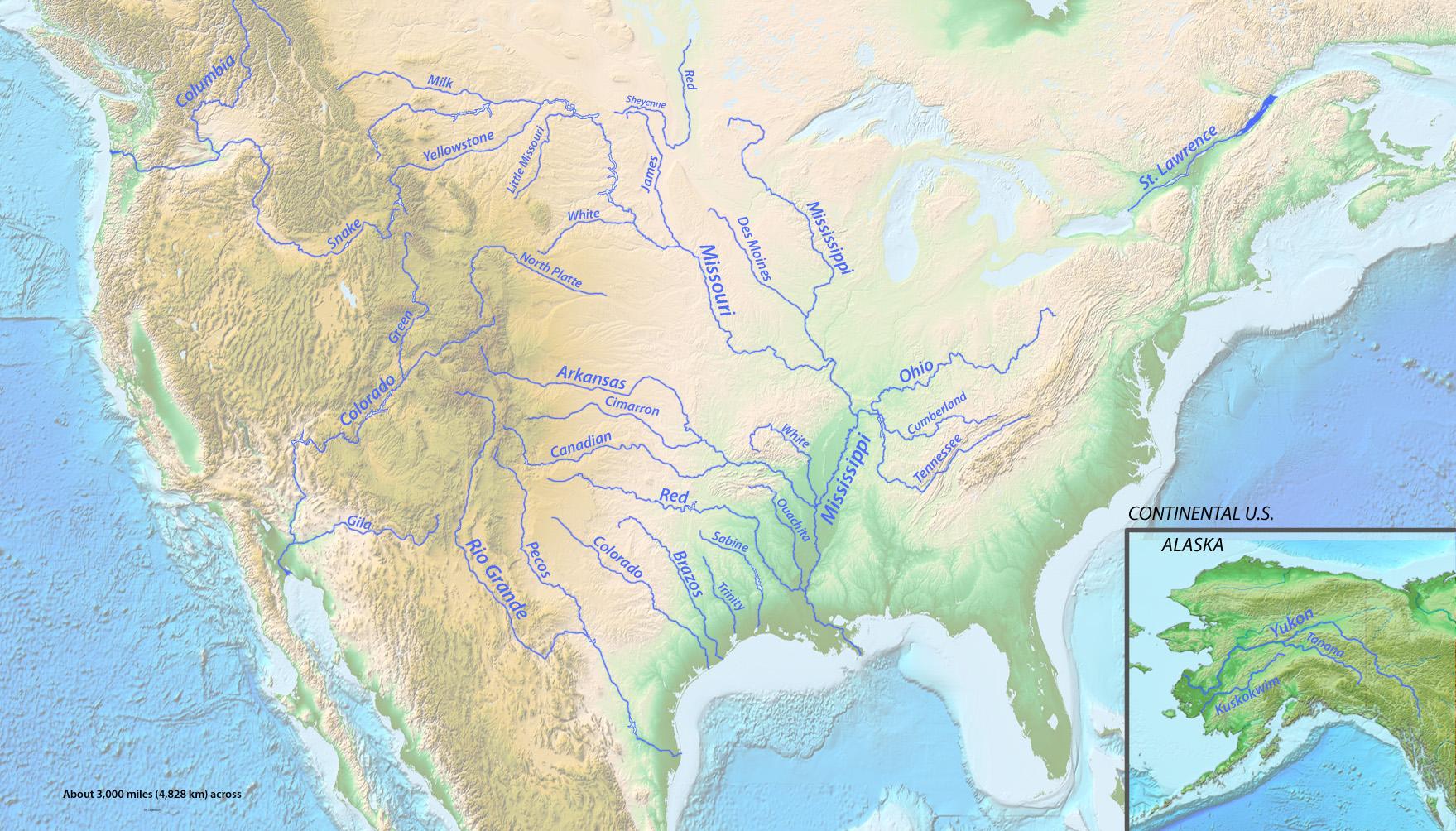 FileLongest Rivers Of The US With Labelsjpg Wikimedia Commons - Ten longest rivers
