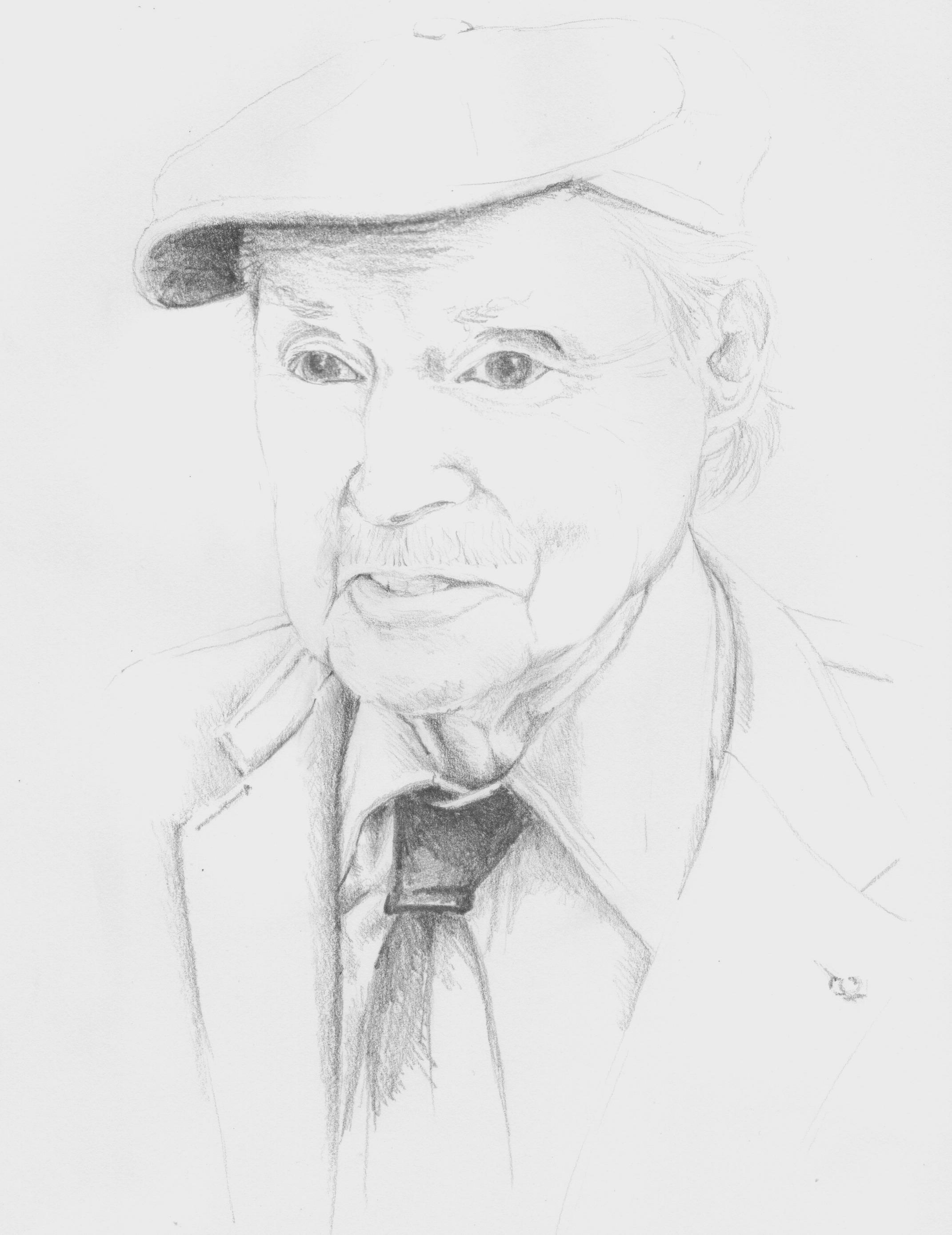 retrato a lápis de Genevoix