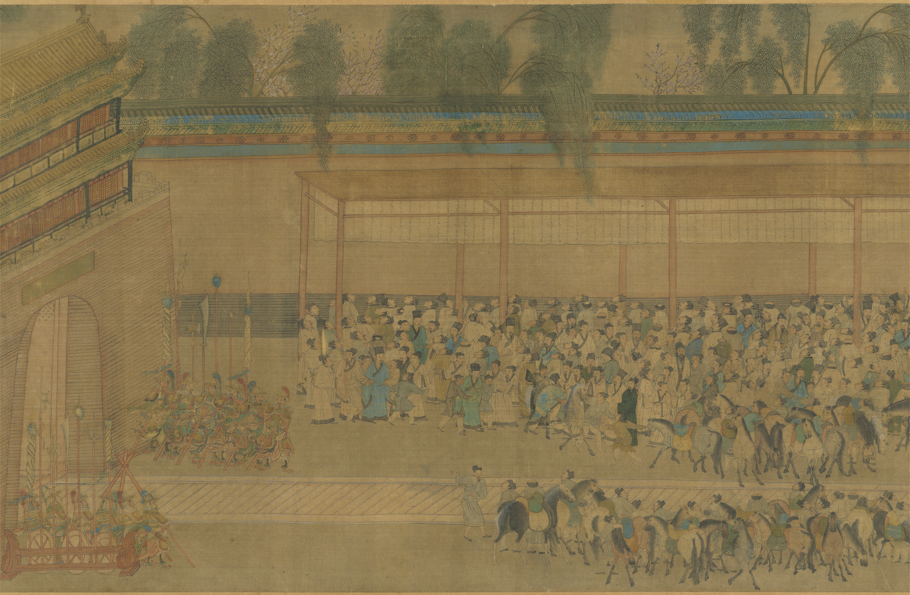 Civil service exam candidates gather around the wall where results had been posted. Artwork by Qiu Ying (仇英 c.1540).