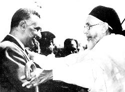 King Idris meeting Abdel Nasser, President of Egypt.