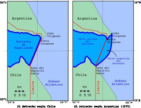 Esquema de las posiciones previas al tratado de 1984 (la posición argentina está exágerada en el mapa de la derecha).