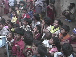 A group of slum children in India