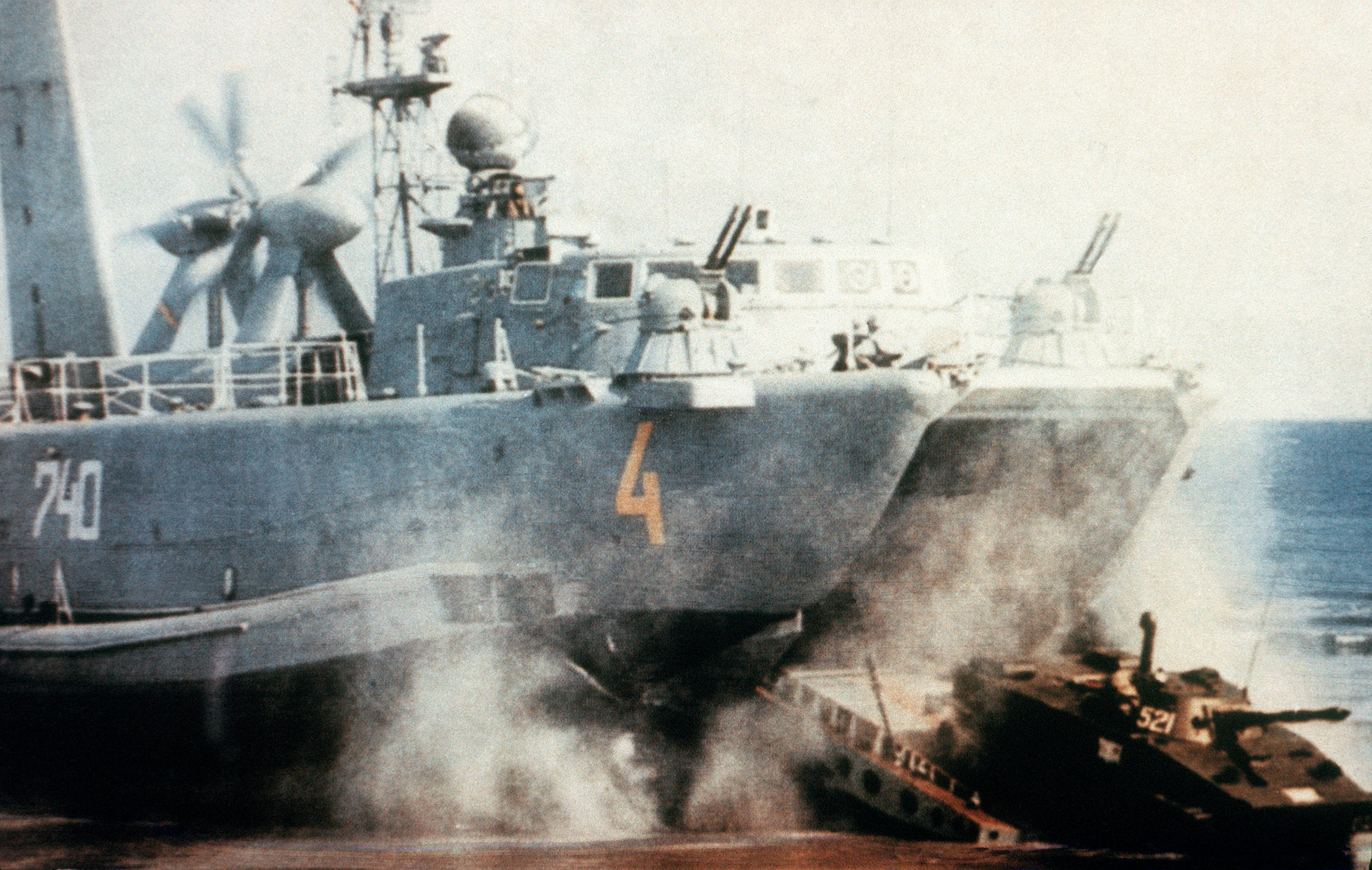 File:PT-76 moves down the ramp of a soviet hovercraft.JPEG