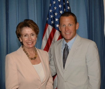 Lance Armstrong and Speaker of the United States House of Representatives Nancy Pelosi