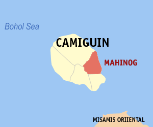 Map of Camiguin showing the location of Mahinog