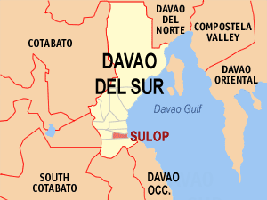 Map of Davao del Sur showing the location of Sulop