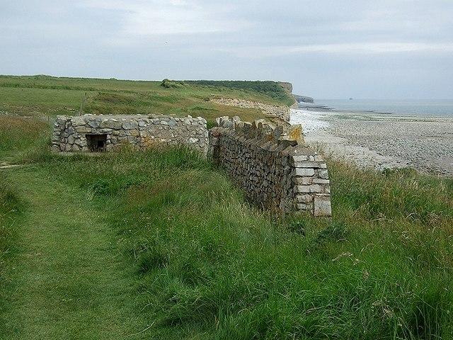 Pillbox and Wall, near Tresillian Bay - geograph.org.uk - 1368536