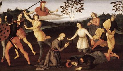 Rafael: Eusebius av Cremona vekker tre menn opp fra de døde med Hieronymus' kappe