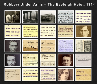 """The Eveleigh Payroll Heist"", 1914 was committed in the middle of the day in a busy area and has been reported to be the first robbery in Australia where a getaway car was used. Robbery Under Arms The Eveleigh Payroll Heist, 1914 (6151815914) (6).jpg"