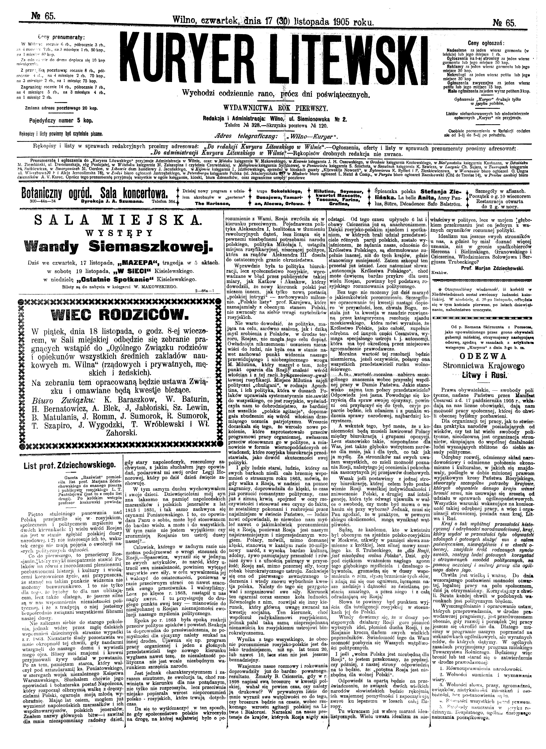 Fileroman Skirmunt Artykul Kuryer Litewski 1905 65 S 1jpg