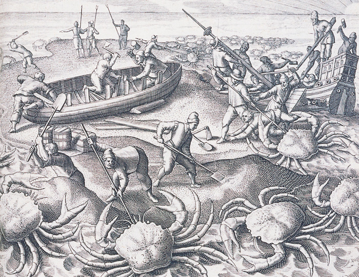 File:Shipwrecked Portuguese sailors battling giant crabs in the Indian Ocean.jpg
