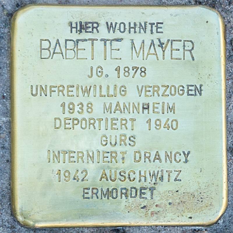 Stolperstein für Babette Mayer