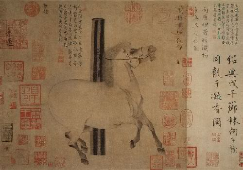 Night Shining White, a handscroll attributed to Han Gan (active 742–756)