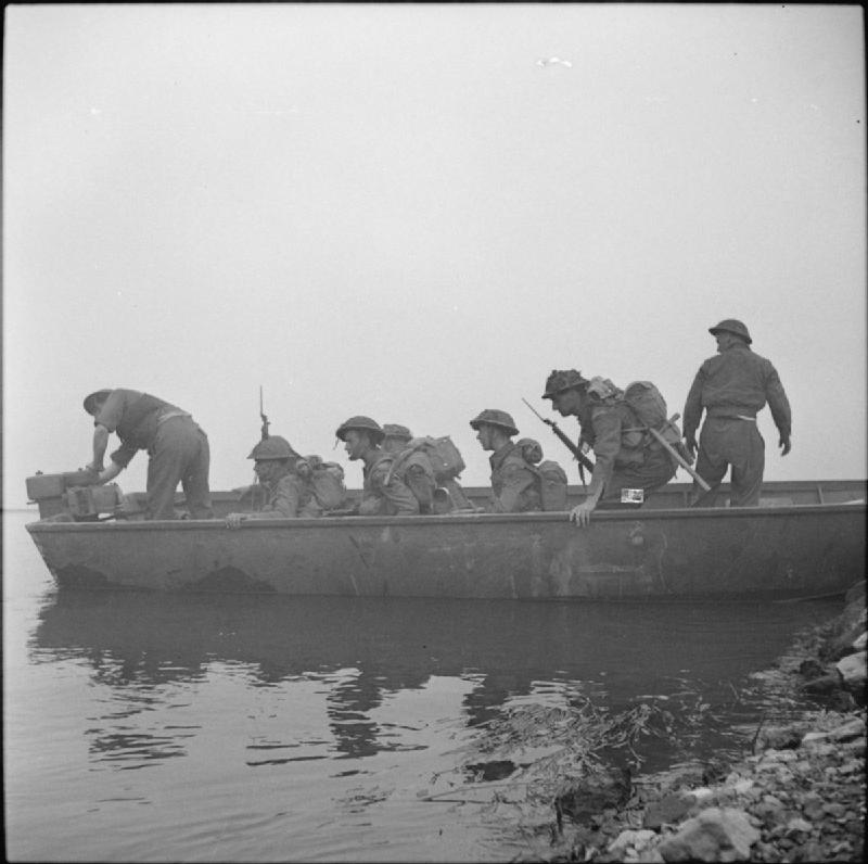 Soldiers embarking in a boat