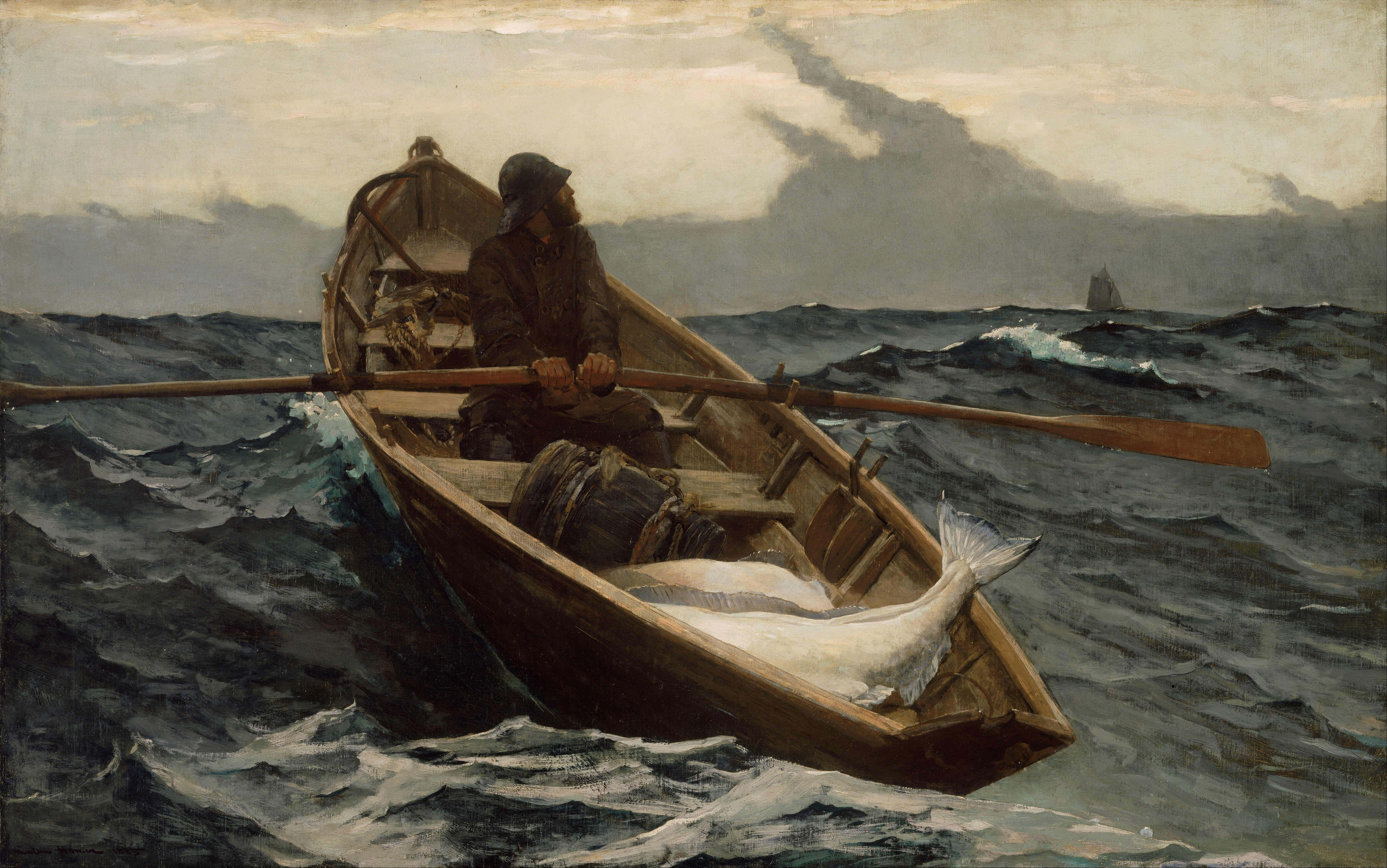 Watercolor artists directory wiki - Winslow Homer The Fog Warning Watercolor 1885 Museum Of Fine Arts Boston